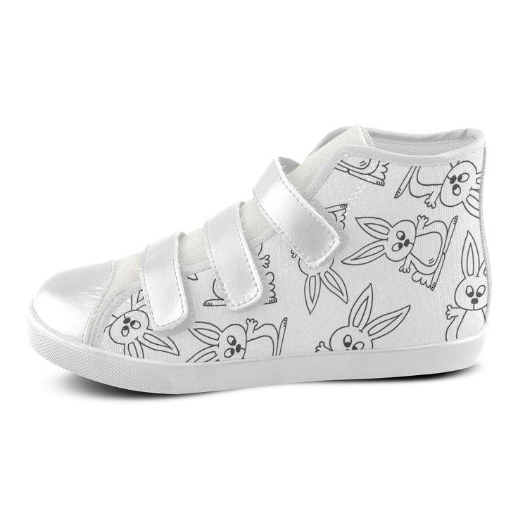 Bunny Pattern Velcro High Top Canvas Kid