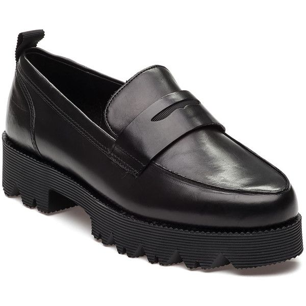 ASH Nani Black Leather Loafer (14.050 RUB) ❤ liked on Polyvore featuring shoes, loafers, black leather, black platform shoes, chunky loafers, ash shoes, leather platform shoes and chunky platform shoes