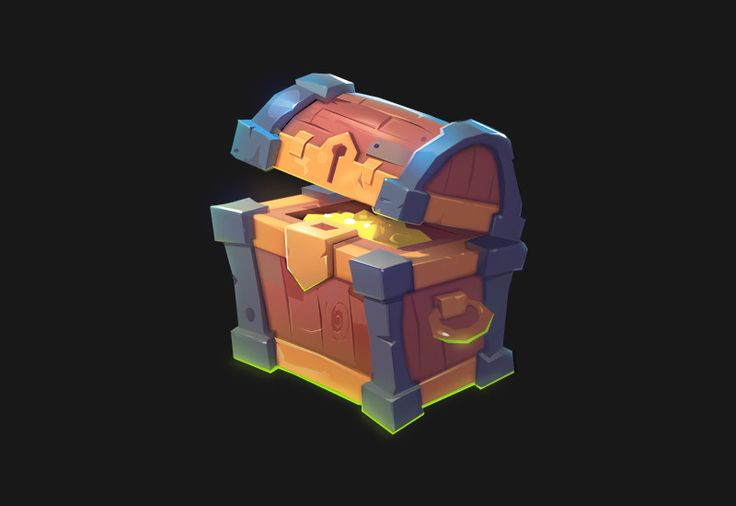 Treasure chest, Ruslan Kim on ArtStation at https://www.artstation.com/artwork/P2Nzy