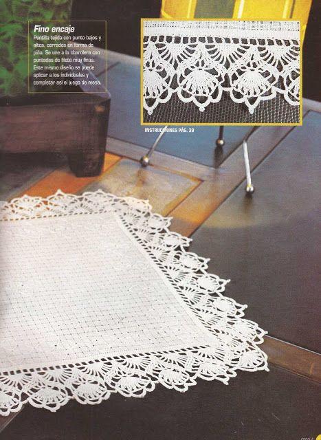 Patrón #1185: Puntilla para Individual a Crochet   CTejidas [Crochet y Dos Agujas]