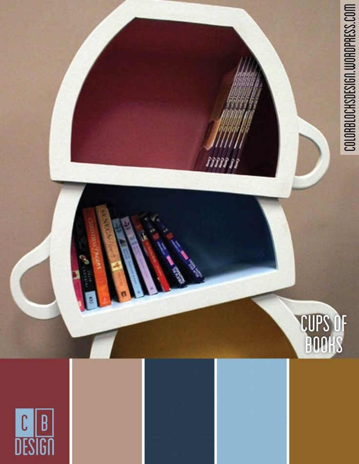 cups of books color blocks design - Books On Color Theory