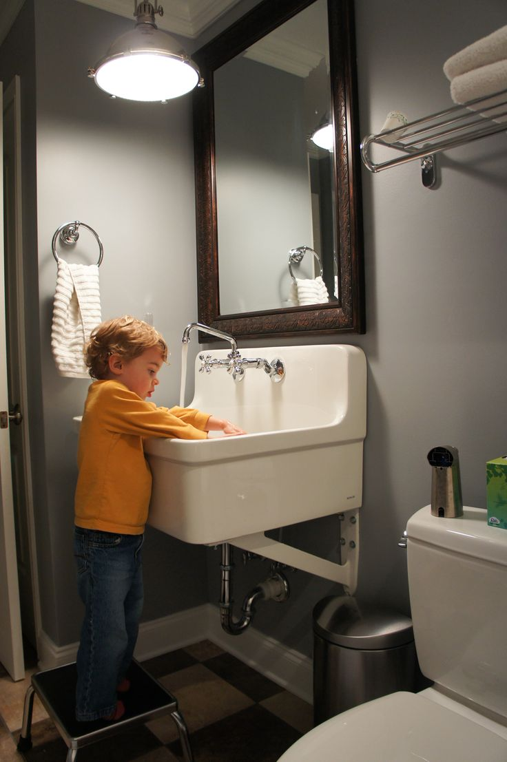 Love How Our New Bathroom Turned Out Utility Sink Great For Kids