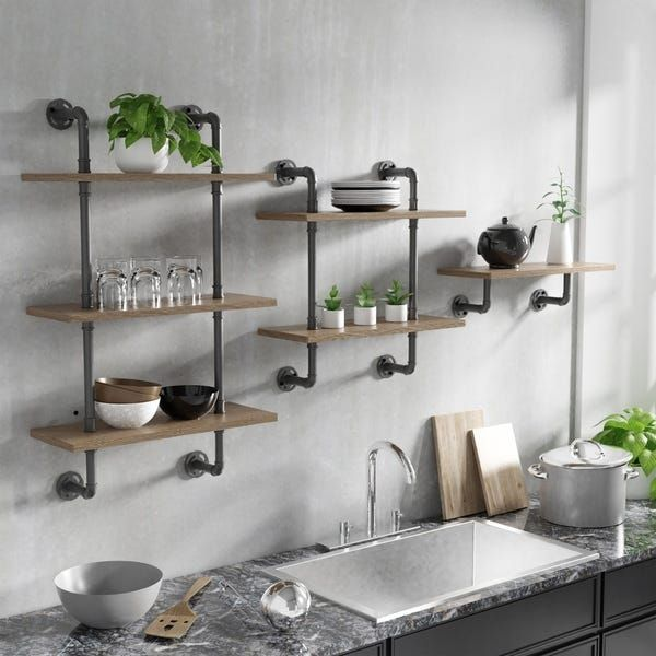 Carbon Loft Leyva Floating Ladder Wall Shelf With Images Wall