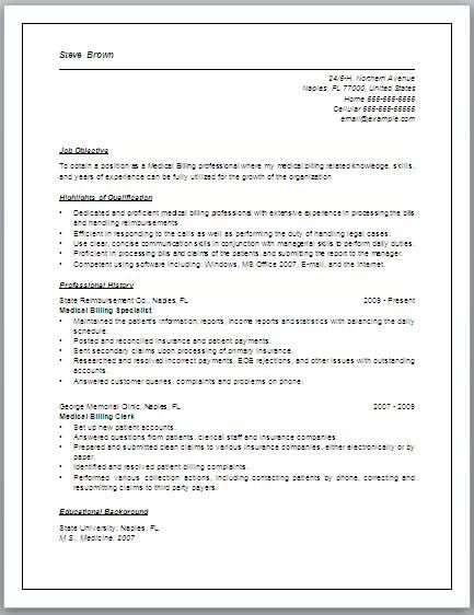 medical billing specialist resume medical billing resumes samples – Job Description for Medical Billing