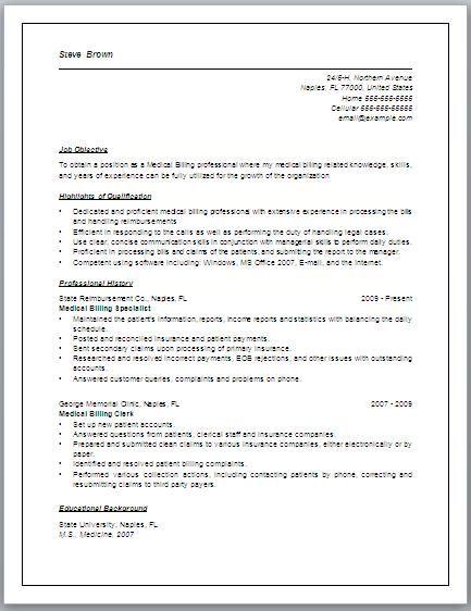 Medical Billing Resume Sample Free Medical Biller Resume Skills     WorkBloom     Medical Billing Resume Examples medical billing and coding resume  objective samples Medical Billing Resumes Medical Credentialing