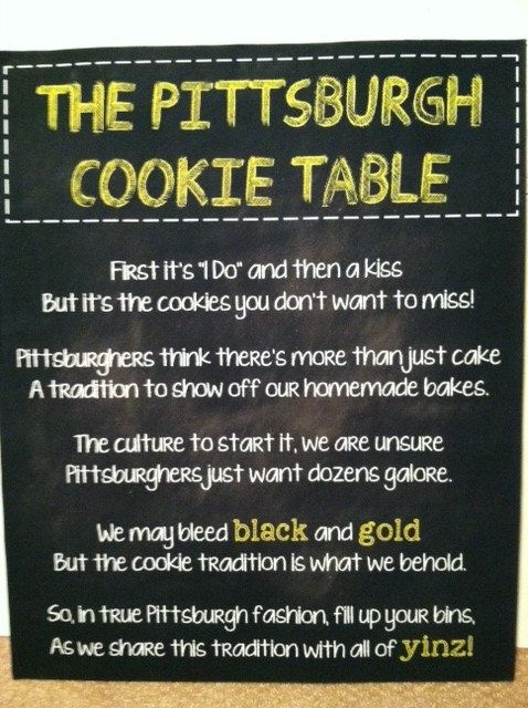 not doing a cookie table bc I think it is stupid but if I was I would use this sign!!!! Love Pittsburgh but not the idea of having to have a cookie table.