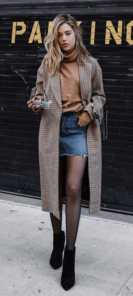 9 funny ways to connect a mini skirt with a boot. Camel Sweater, Maix Casac