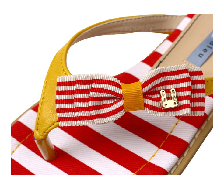 Adorable Ribbon Details and a cute bunny logo in gold! Flip Flops by Le Bunny Bleu - very Nautical