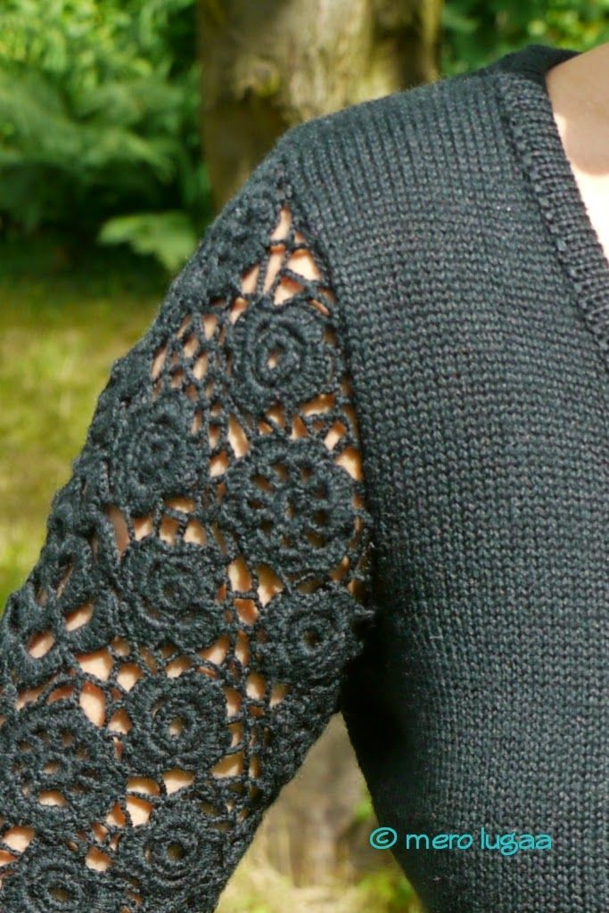 mero lugaa: Maschinenstrick mit irischer Häkelei (Teil 5) - machine knitting with Irish crochet lace (part 5)
