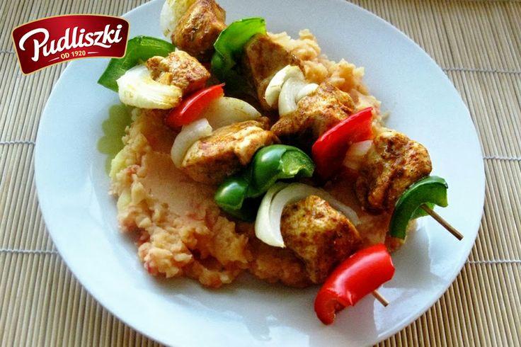 Pomidorowe puree i szaszłyki z kurczaka.  #kurczak #szaszłyk #grill #pudliszki #przepis