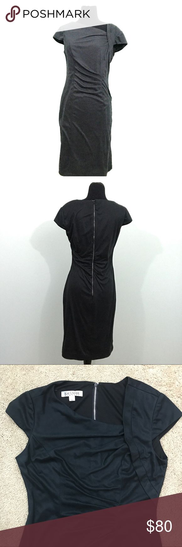 "Kay Unger Faux Micro Suede Pleat Waist Dress Kay Unger New York 6 Black Faux Micro Suede Pleat Waist Formal Cap Sleeve Dress  *Excellent Used Condition!  Measurements: 34"" Bust 30"" Waist 37"" Length Kay Unger Dresses"