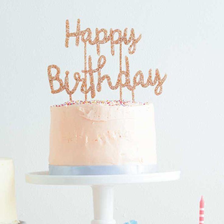 Happy Birthday Cake Topper, Meri Meri Cake Picks, Gold Glitter Cake Topper, Shimmering Glitter Script Cake Banner, Simple and Chic Birthday by CrankyCakesShop on Etsy https://www.etsy.com/listing/489646786/happy-birthday-cake-topper-meri-meri