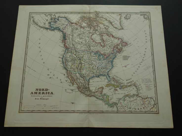 Antique Map Of North America Beautiful Original 1872 Hand Colored Engraving Vintage Poster Print Us Canada Nordamerika Continent By Decorativeprints On