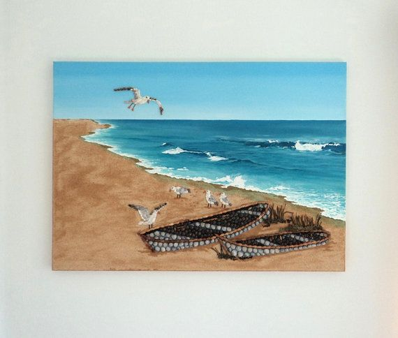 Acrylic Painting, Beach Artwork with Seashells and Sand, Two Boats & Seagulls in Seashell Mosaic on Sand, Mosaic Art, 3D Art Collage, Wall Decor, Home Decor #ArtworkwithSeashells #mosaiccollage #seashellmosaic #homedecor #walldecor #3D