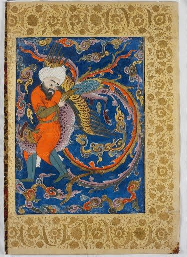 Hippocrates from Ahmed I Falnama (1580s-90s) watercolor and gold on paper, Topkapi Palace Museum Hippocrates, the ancient physician who was learned in alchemy, astrology and magic is shown riding across the sky on the purple-speckled back of a mythical bird, the simurgh; it has gilded wings and a long, divided tail that forms loops in the cloud-filled sky.