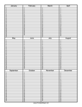 This Single Page Perpetual Calendar Has Space For You To Jot Notes On Any Day Of The Year Free Download And Print