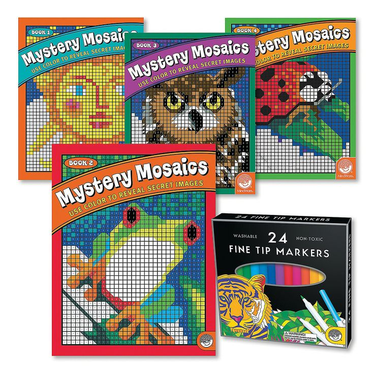 Mystery Mosaics Set of 4 with FREE Markers