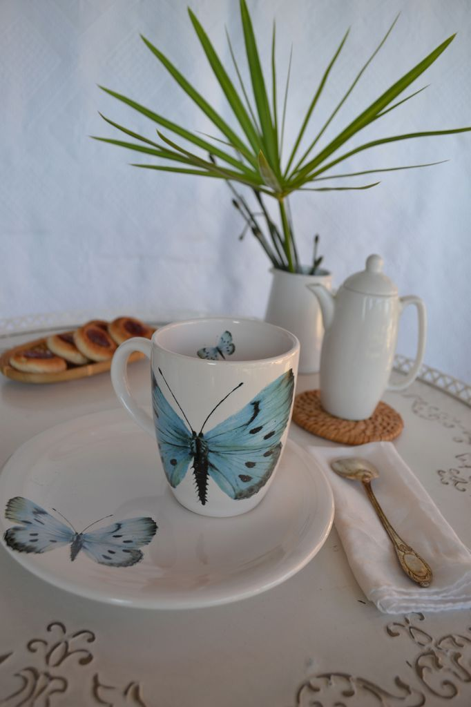 Taza con plato mariposas | Ana Pastor tienda
