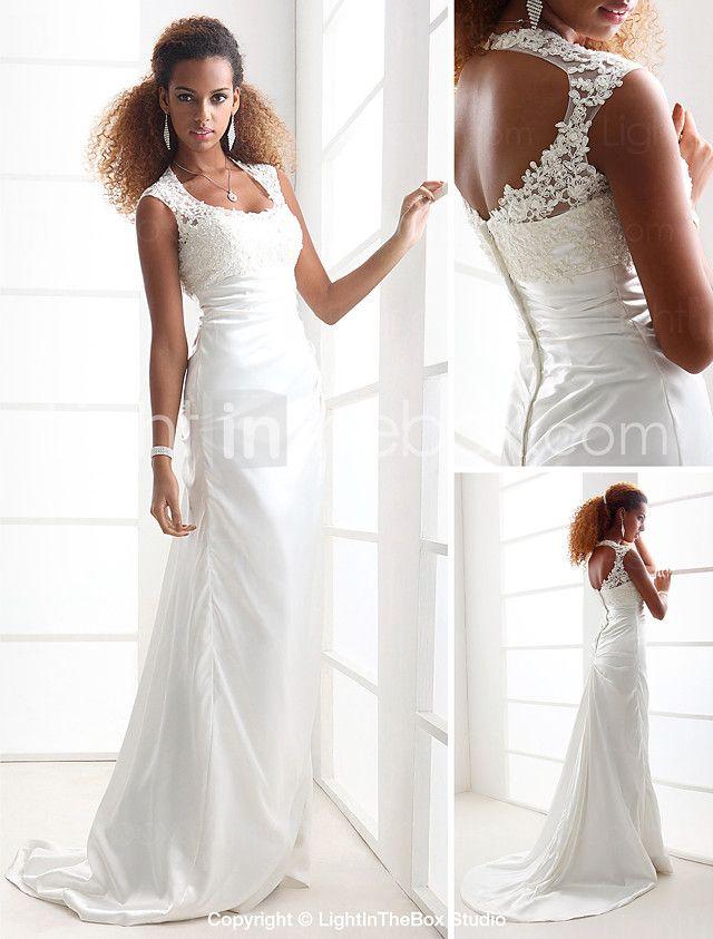 Lanting Bride® Eng anliegend Extraklein / Übergrößen Hochzeitskleid - Schick & Modern / Elegant & Luxuriös Rückenfrei Pinsel Schleppe 2017 - €146.99