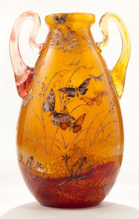 Emile Gallé, Nancy, (1846-1904), Blown, Internal Inclusions, Etched, Applied and Enameled Glass Vase.