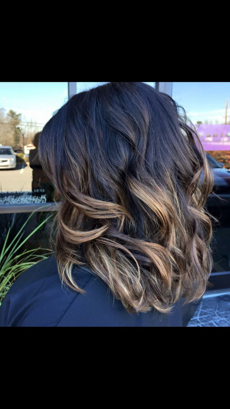 Dark Brown Base With Balayage Blonde Effect Color Melt By
