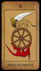 La Roda da Fortuna - X. Fiando; Fiando; não para de fiar trabalha cantando na roda de fiar''. A Roda não é a rotina e nunca Será por mais que faça trabalhos rotineiros algo dentro de si muda constantemente. Você está na dinâmica da Vida.