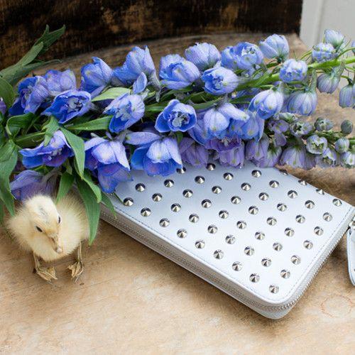 Lilac Empress! Silver studs - over sized wallet.  Clutch.   www.littleghost.co.nz