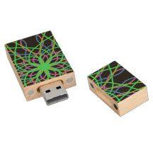 Kaleidoscope Mandala Art Green Star USB flashDrive Wood USB 2.0 Flash Drive