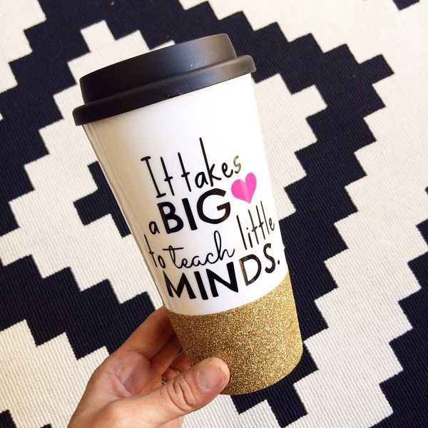 It Takes a Big Heart to Teach Little Minds Coffee to Go Cup Teacher... (84 QAR) ❤ liked on Polyvore featuring home, kitchen & dining, drinkware, drink & barware, gold, home & living, plastic coffee cups, heart shaped mug, heart mug and heart shaped coffee mug
