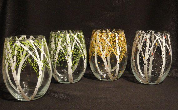 Hand Painted Wine/Juice/Water Glasses 4 seasons Set of by HiMaria