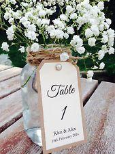 Vintage Pearl Twine Wedding Table Number Tag / Sign BROWN KRAFT Personalised