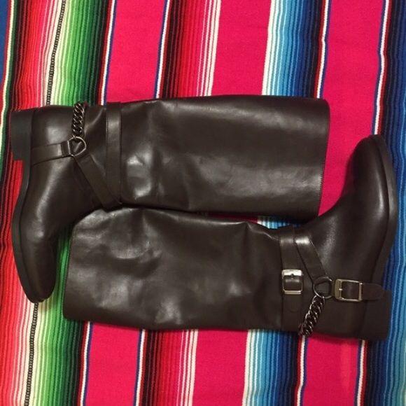 Brown ZARA boots Brand new! Never worn! ZARA boots with chain detail. Size 7. Zara Shoes Winter & Rain Boots
