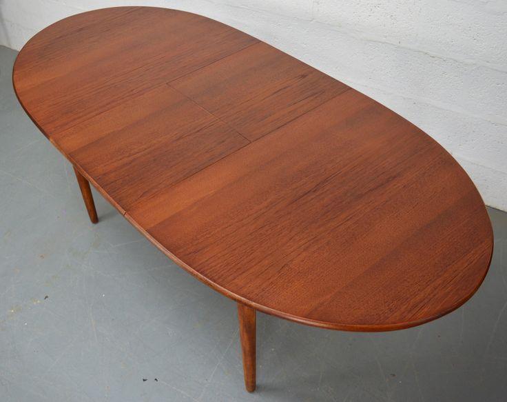 Teak Oval Extendable Mid Century Dining Table