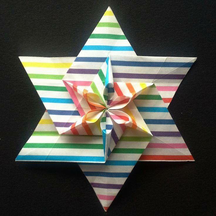 Estrella de origami con 6 picos