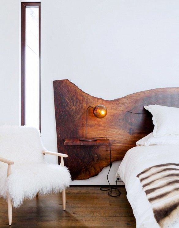 The Emerging Design Trends You Need to Know About// Wood slab headboard and furry side chair