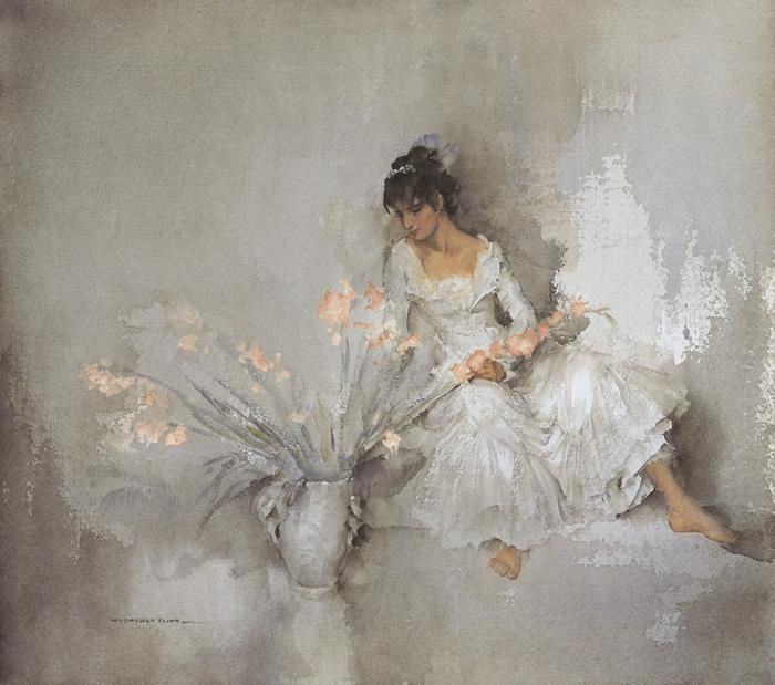 Sir William Russell Flint, A Gift of Gladioli