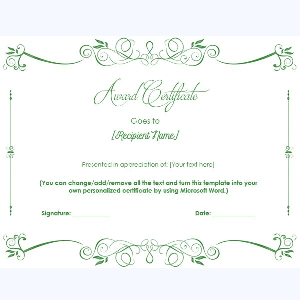 99 best Award Certificate Templates images on Pinterest Award - microsoft certificates templates