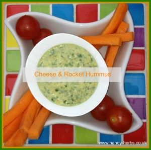 Goats Cheese & Rocket Hummus is an easy to make and healthy snack for children.