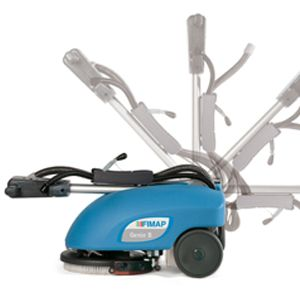 Genie operation handle allows movement for storage and when positioned upright allows easier manoeuvrability in corners and awkward areas.