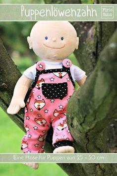 Puppenlöwenzahn, Latzhose für Puppen von 25-50cm (5 Größen)