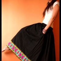 Long skirt with ethnic borders