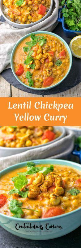 Lentil Chickpea Yellow Curry   #vegan #glutenfree #contentednesscooking