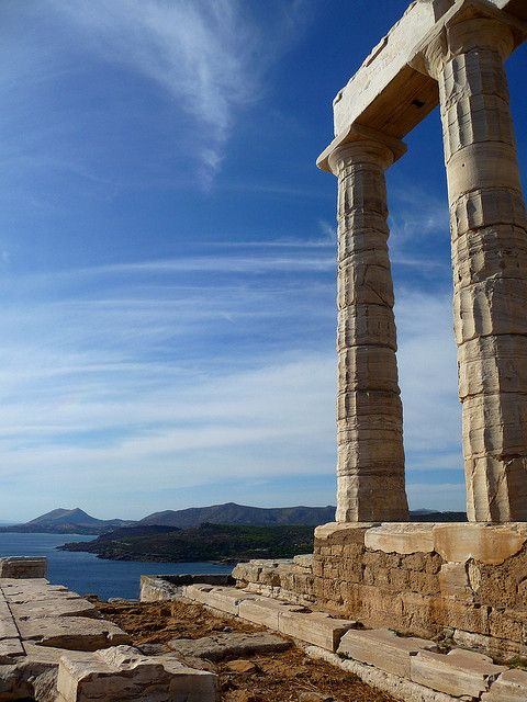 Temple of Poseidon (god of the sea) at the coastal location of Sounio (Cape Sounion) in southern Attica overlooking the Aegean Sea. The marble temple has served as a landmark for sailors from ancient times to today. #kitsakis
