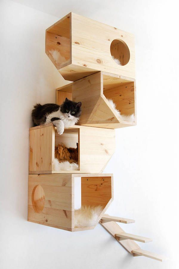 Beautiful Wood Cat Furniture Part - 13: For Cat Owners: Chic, Geometric Wooden U0027Cat Treeu0027 Perfect For Modern Homes