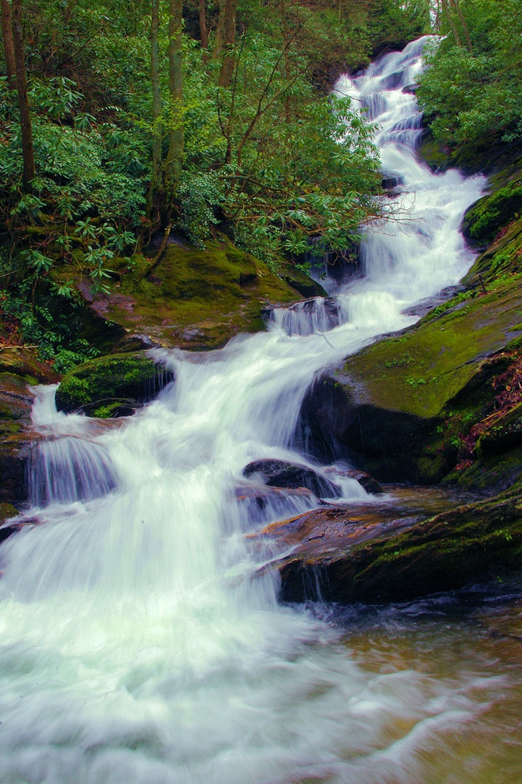 Roaring Fork Falls is one of the many waterfalls near Asheville, North Carolina, and the Blue Ridge Parkway. See the top 25 waterfalls at http://www.romanticasheville.com/waterfalls.htm