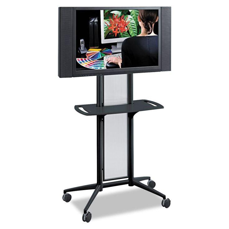 "Safco SAF8926BL Impromptu Flat Panel TV Cart 38""w x 20""d x 65-1/2""h Black Office Furniture Carts TV Carts"