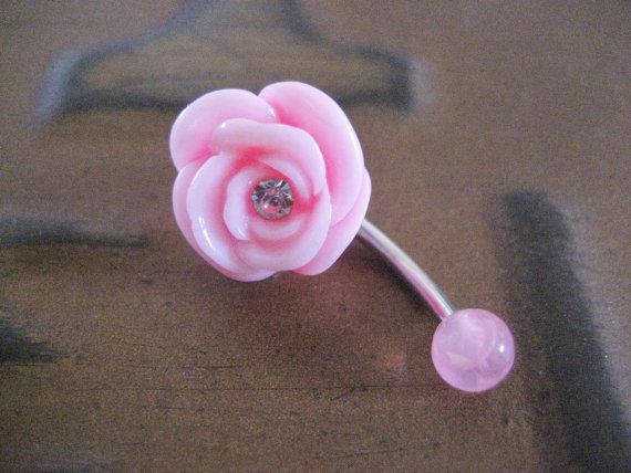 Belly Button Jewelry- Navel Ring Piercing Pink Rose Gem Flower Bar Barbell Stud