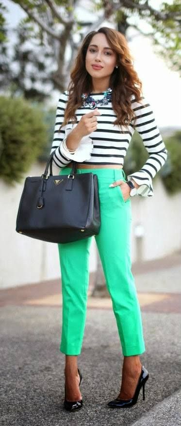 Mint green pants with stripped top