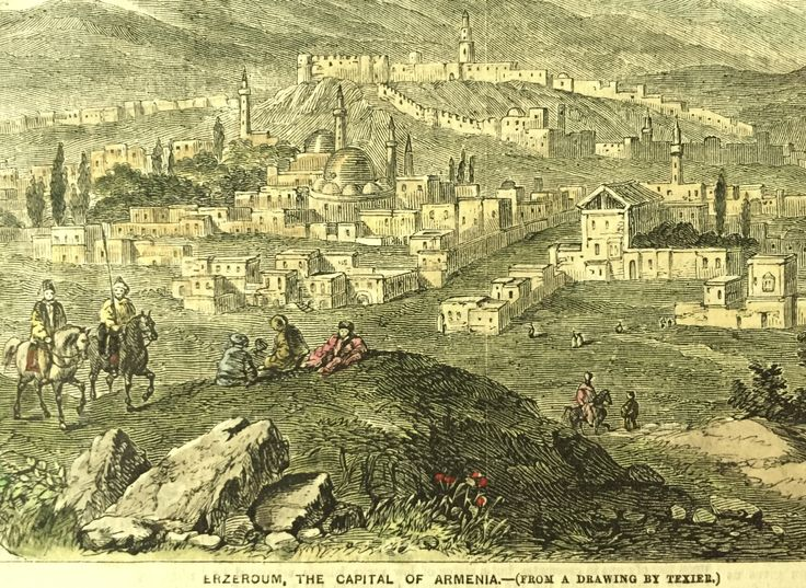 Two antique illustrations of scenes in Armenia, from the Illustrated London News, a popular large format British weekly newspaper in the Victorian era. The top image shows Erzeroum, the Capital of Armenia, and the bottom image shows The City of Van, in Armenia. Published in the January 12, 1856 issue, with later hand colouring.  The print comes professionally matted, using the highest museum-quality, acid-free mat made in UK. It is ready to pop into a standard 14 x 18 frame. Size of each…