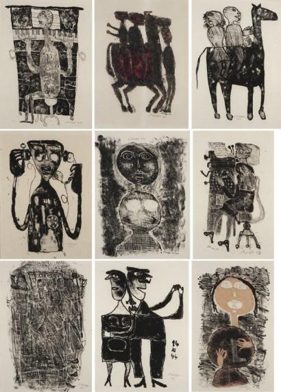 JEAN DUBUFFET MATIÈRE ET MÉMOIRE, 1944 Ensemble de 27 lithographies sur